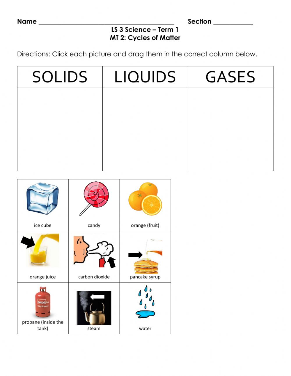 hight resolution of Classifying States of Matter worksheet