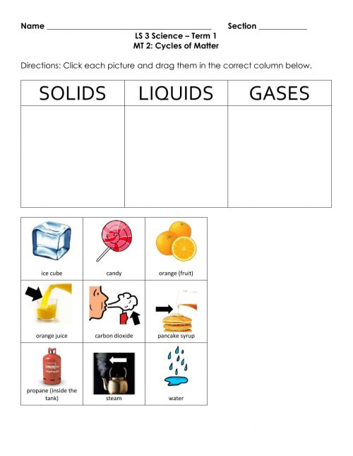 small resolution of Classifying States of Matter worksheet