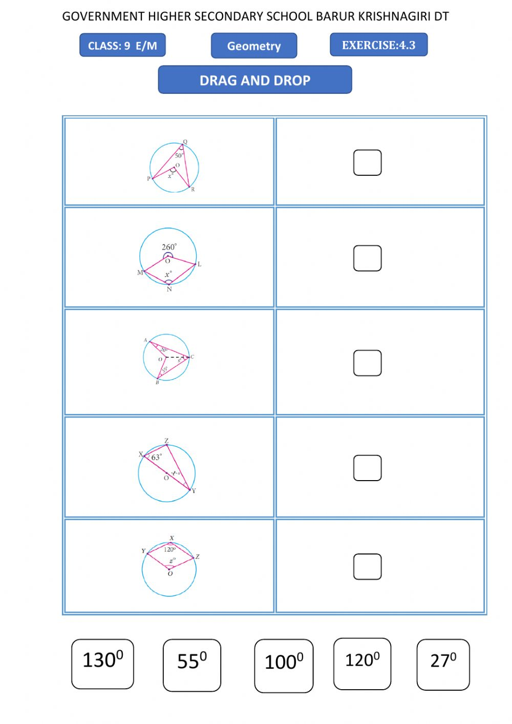 hight resolution of 9th maths-geometry -drag and drop worksheet