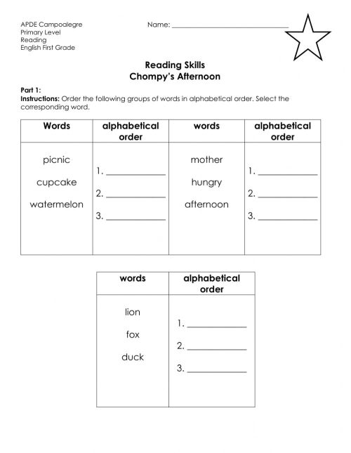 small resolution of Reading skills Alphabetical Order worksheet