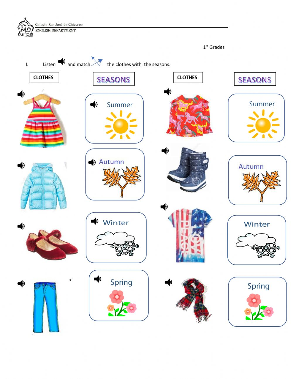 medium resolution of Seasons and clothes online exercise