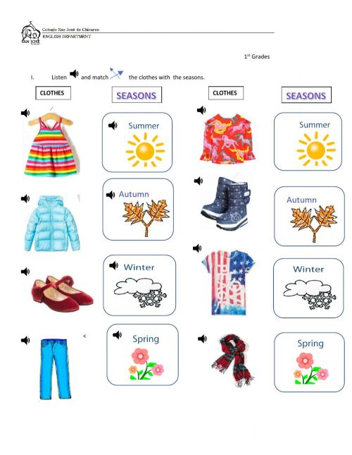 small resolution of Seasons and clothes online exercise