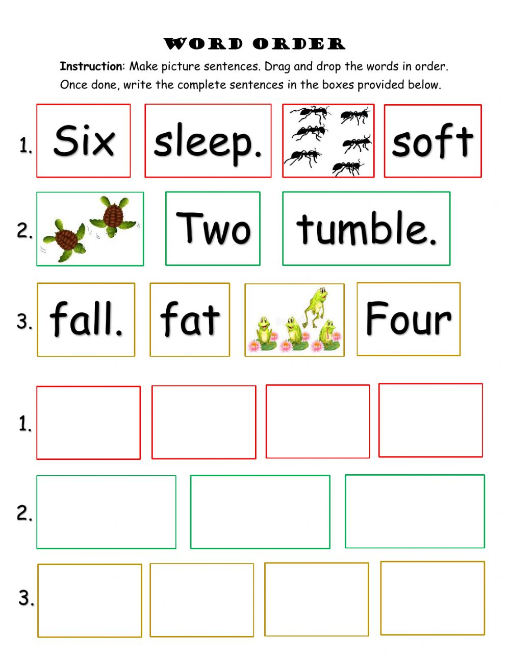 hight resolution of Word Order interactive worksheet for Grade 1