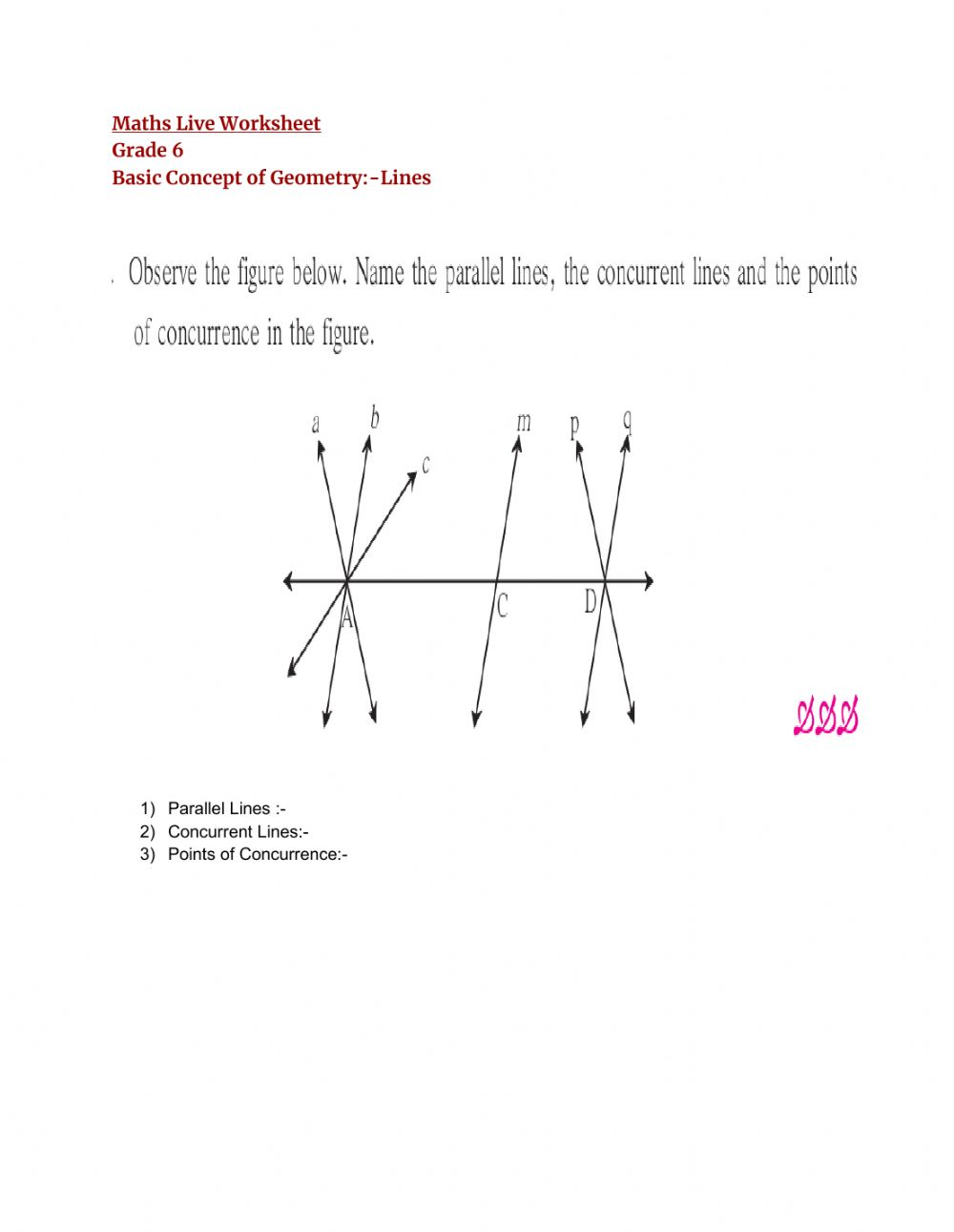 hight resolution of Basic Concept of Geometry:link worksheet