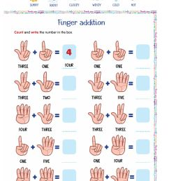 Finger addition worksheet [ 1413 x 1000 Pixel ]