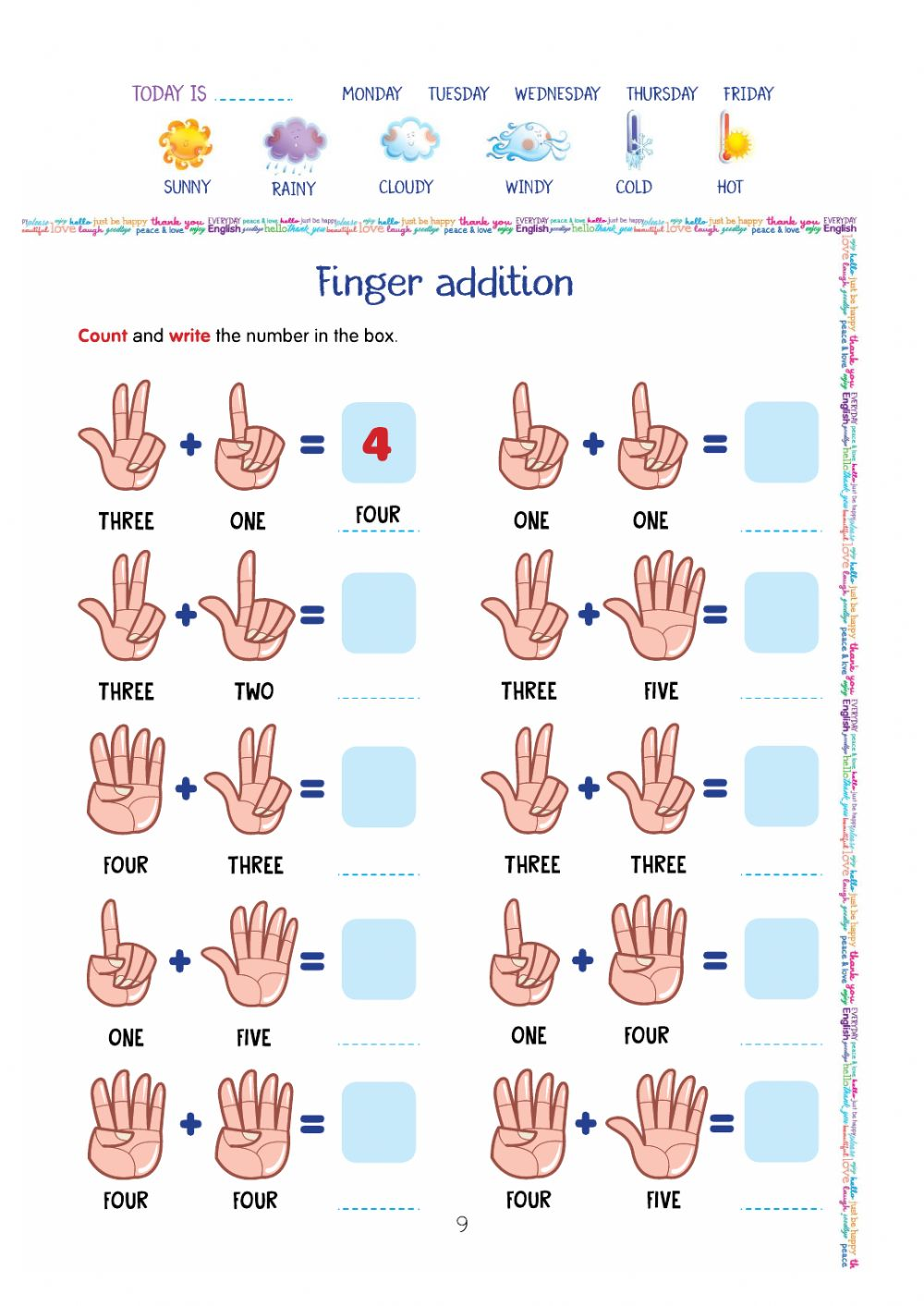 hight resolution of Finger addition worksheet