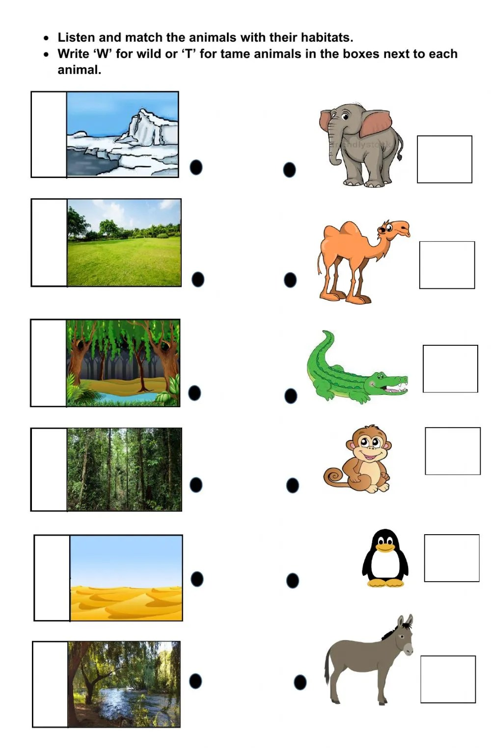 hight resolution of Wild and Tame animal with their sounds and Habitats worksheet