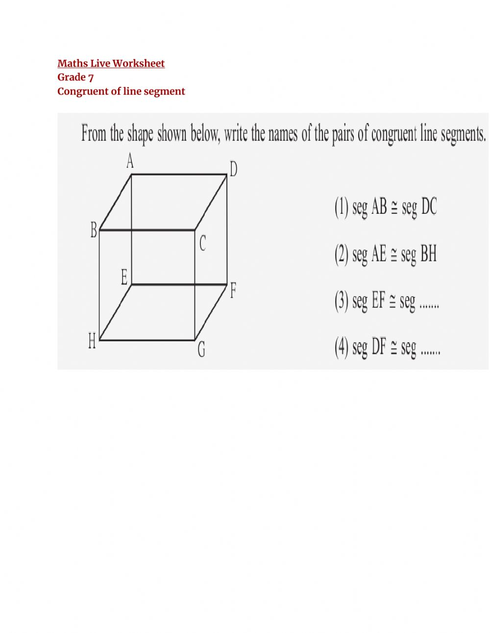 hight resolution of Congruent of Line worksheet