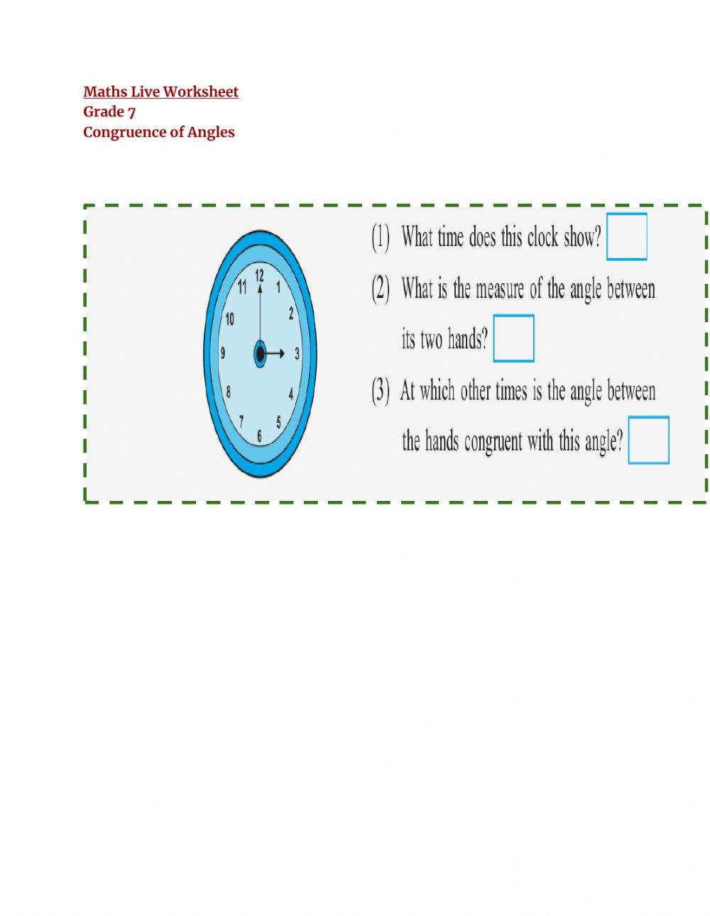 hight resolution of Congruence of angles interactive worksheet