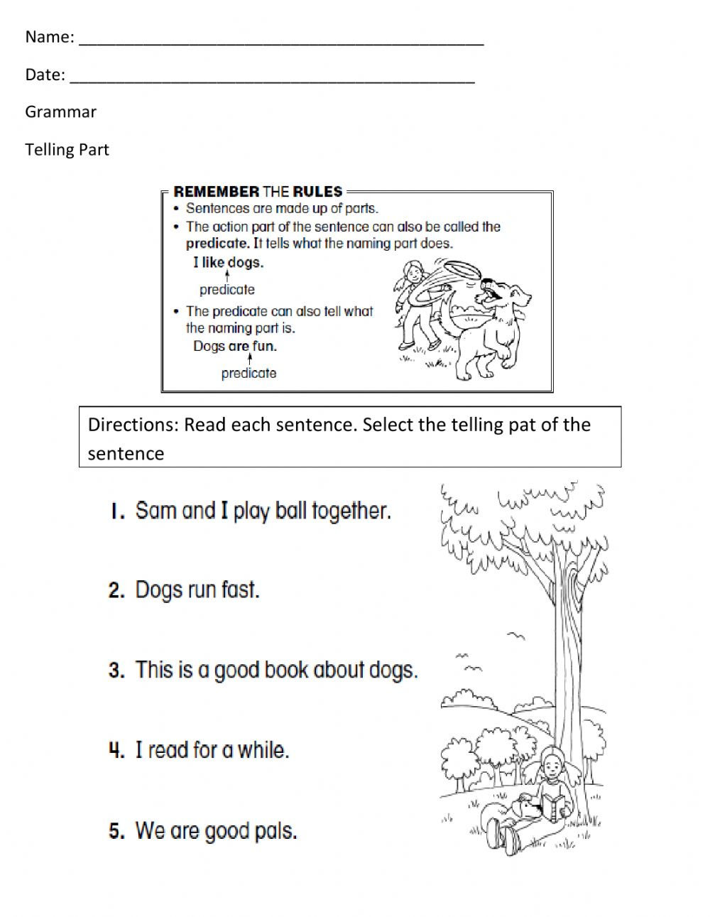 medium resolution of Telling Part Worksheet -1 worksheet