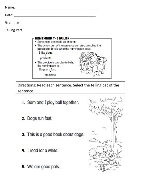 small resolution of Telling Part Worksheet -1 worksheet