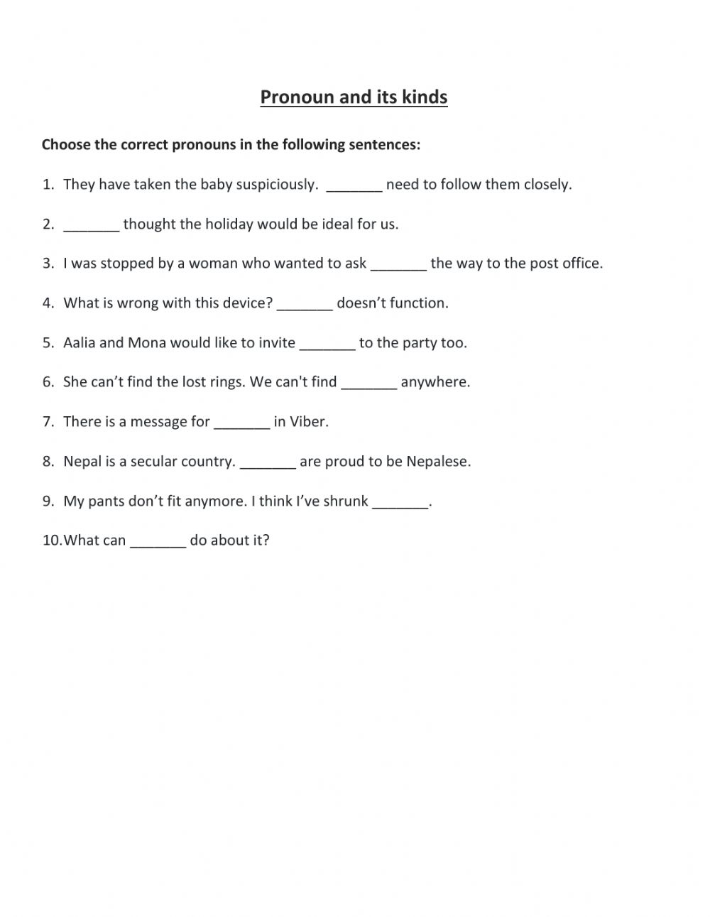 hight resolution of Pronoun and its kinds Class Work worksheet