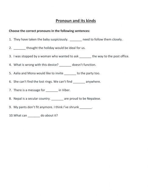 small resolution of Pronoun and its kinds Class Work worksheet