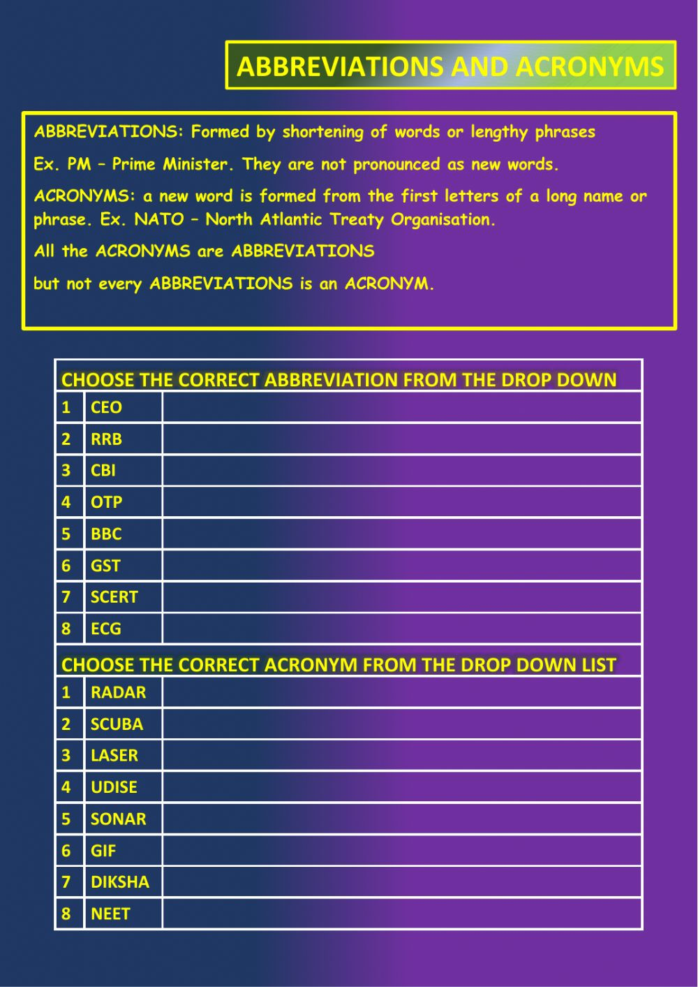 hight resolution of Abbreviation and acronyms worksheet