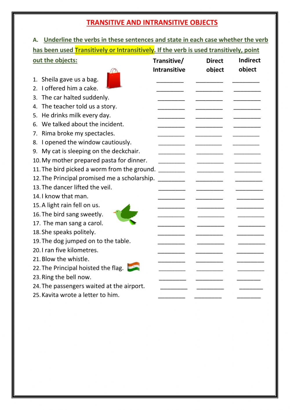 Transitive And Intransitive Verbs Worksheet : transitive, intransitive, verbs, worksheet, Transitive-Intransitive, Verbs, Worksheet