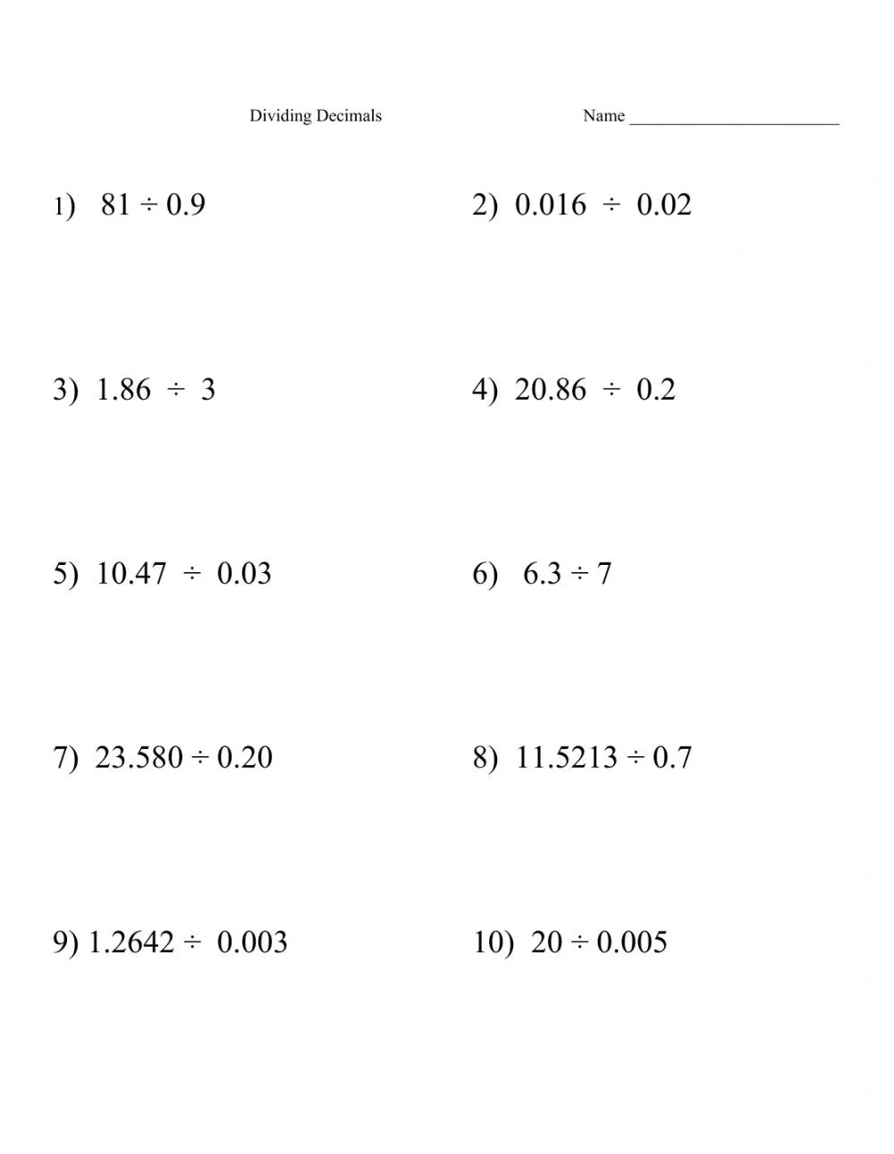 medium resolution of Decimal- Dividing Decimals by Decimals worksheet