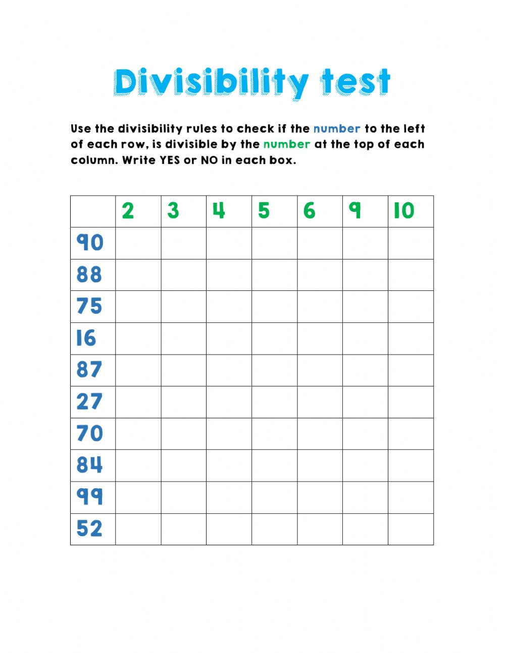hight resolution of Divisibility test worksheet