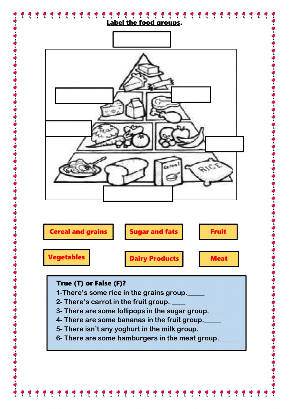 hight resolution of Food online exercise for Grade 2