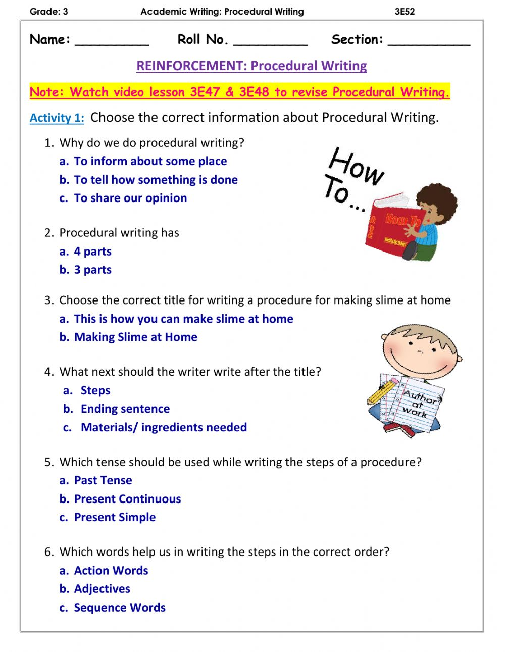 hight resolution of Procedural Writing worksheet