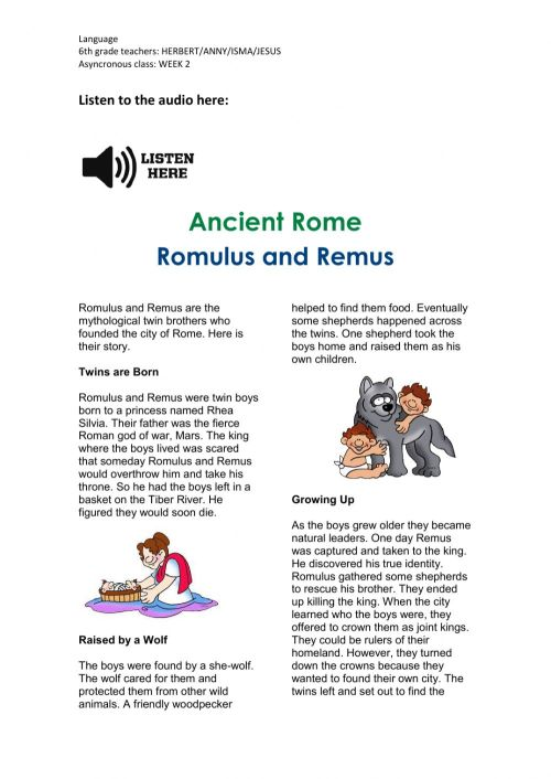 small resolution of Romulus and Remus Activity worksheet