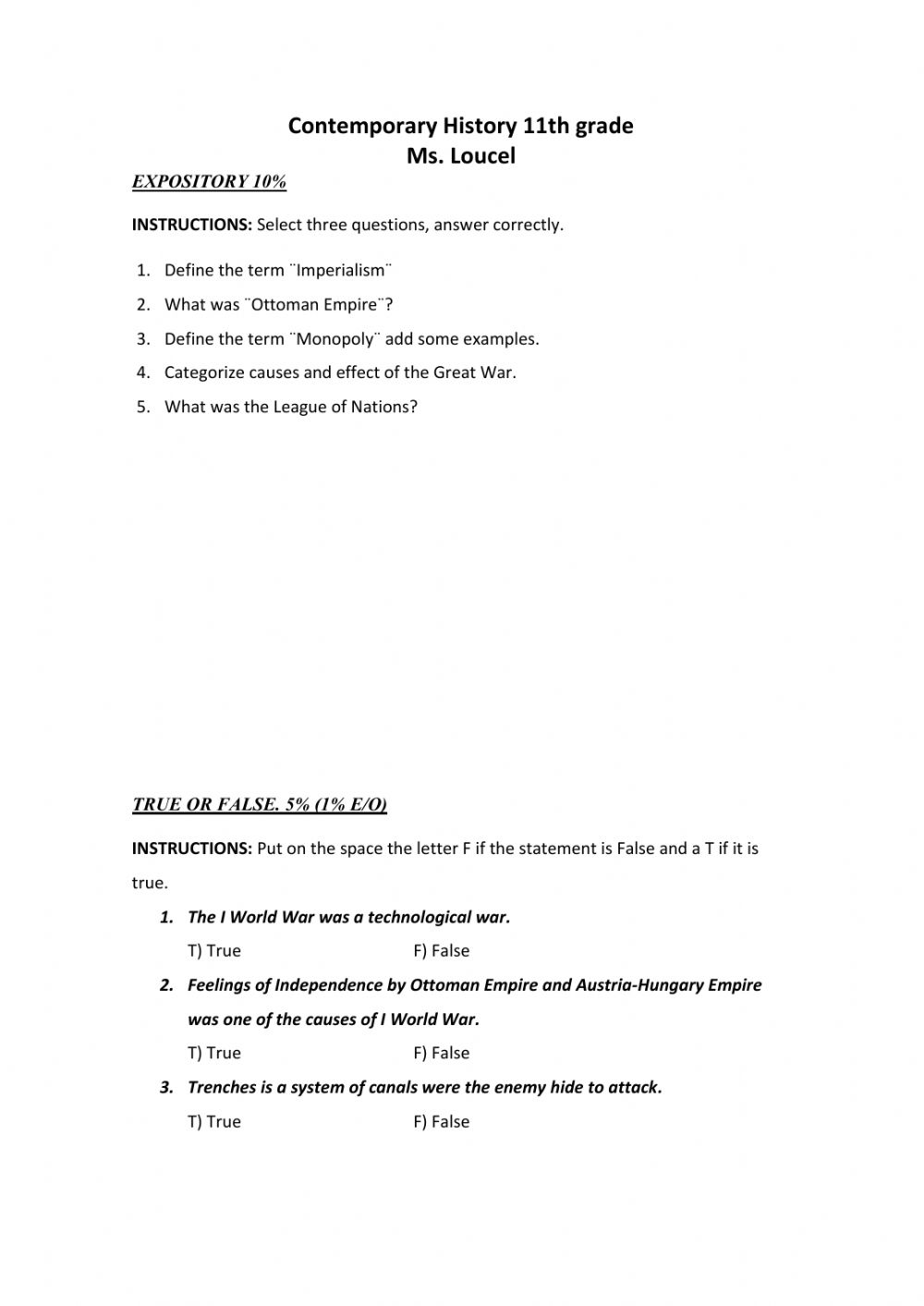 hight resolution of Contemporary History interactive worksheet