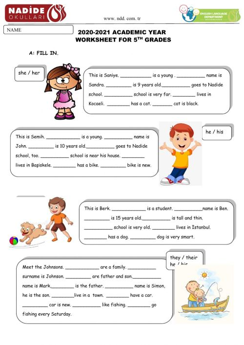 small resolution of Possessive Adjectives online exercise for 5th Grades