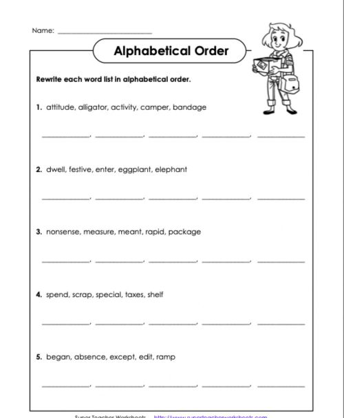 small resolution of Alphabetical Order D1 5th Grade worksheet