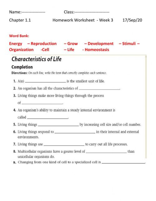 small resolution of Characteristics of life worksheet