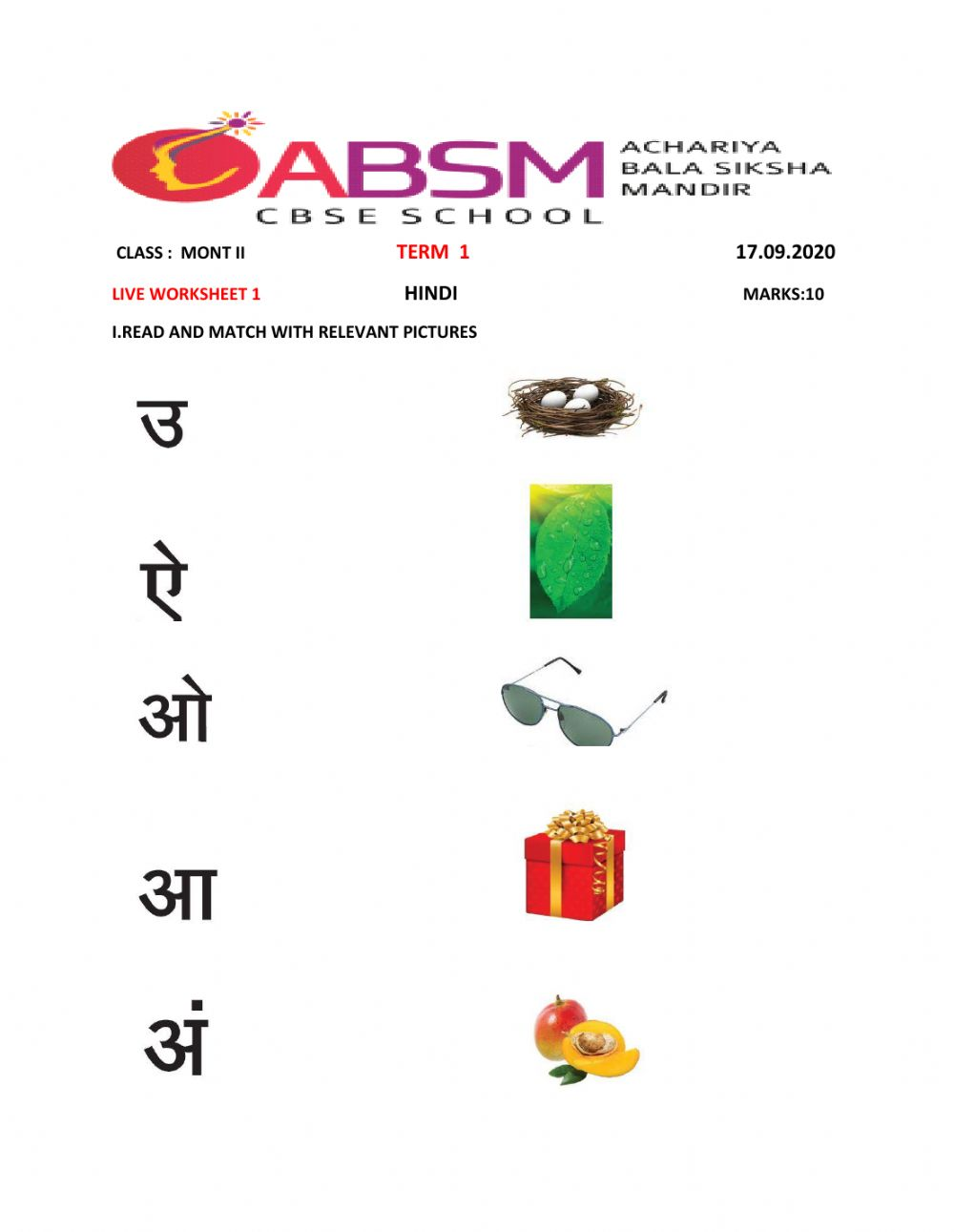 hight resolution of Hindi exercise for MONT-II