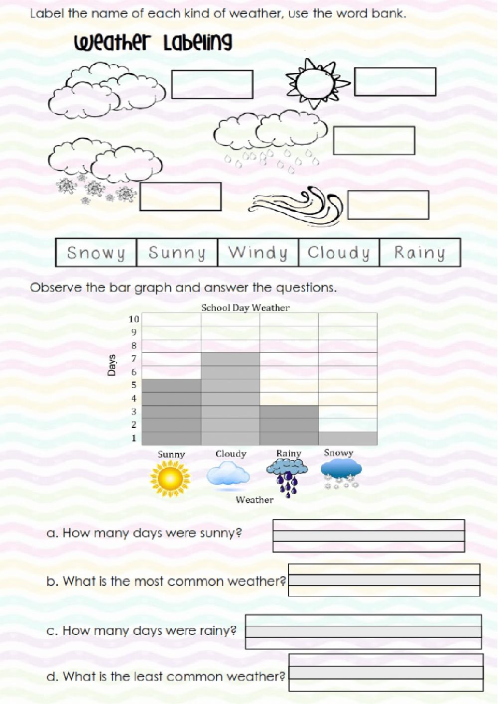 hight resolution of Weather online exercise for first grade