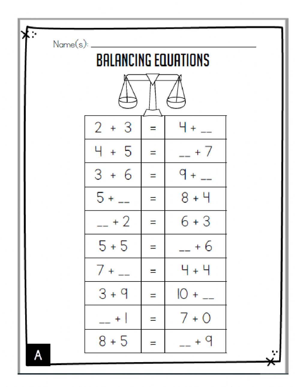 hight resolution of Balancing Equations activity