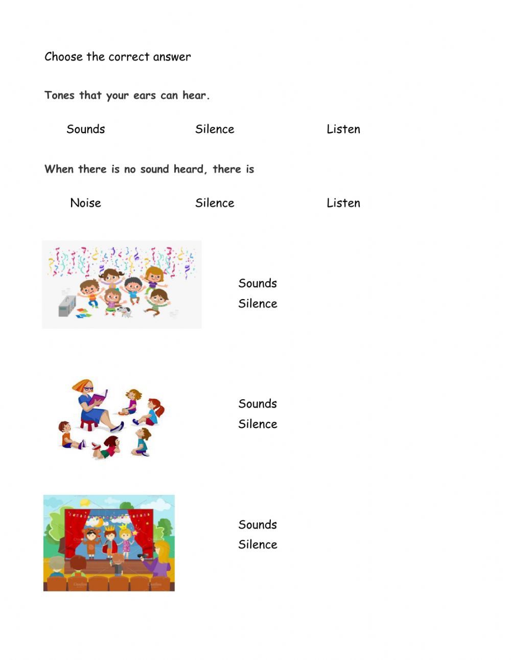 medium resolution of Sounds and Silence worksheet