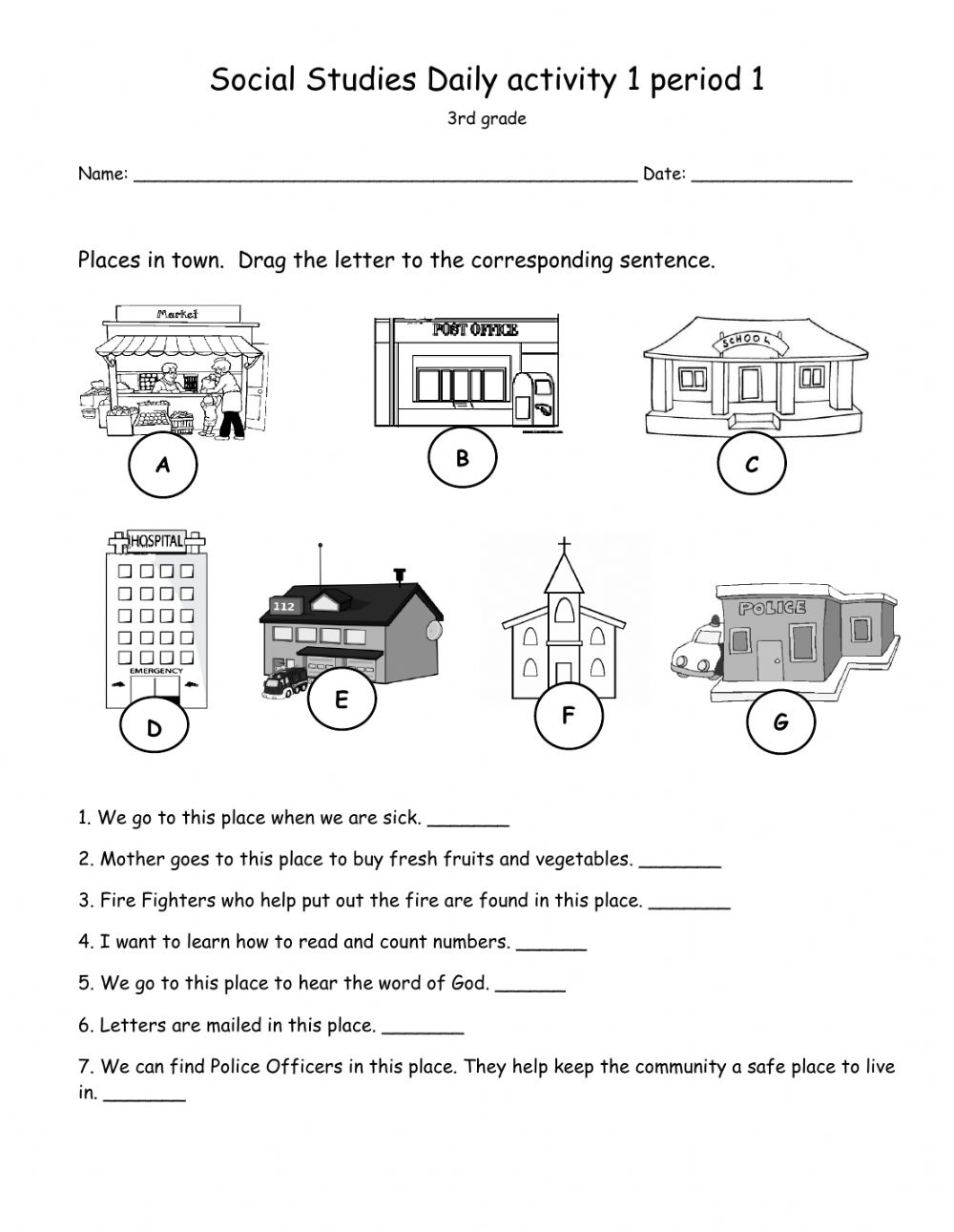 hight resolution of Social Studies Daily activity 1 period 1 - Grade 3 worksheet