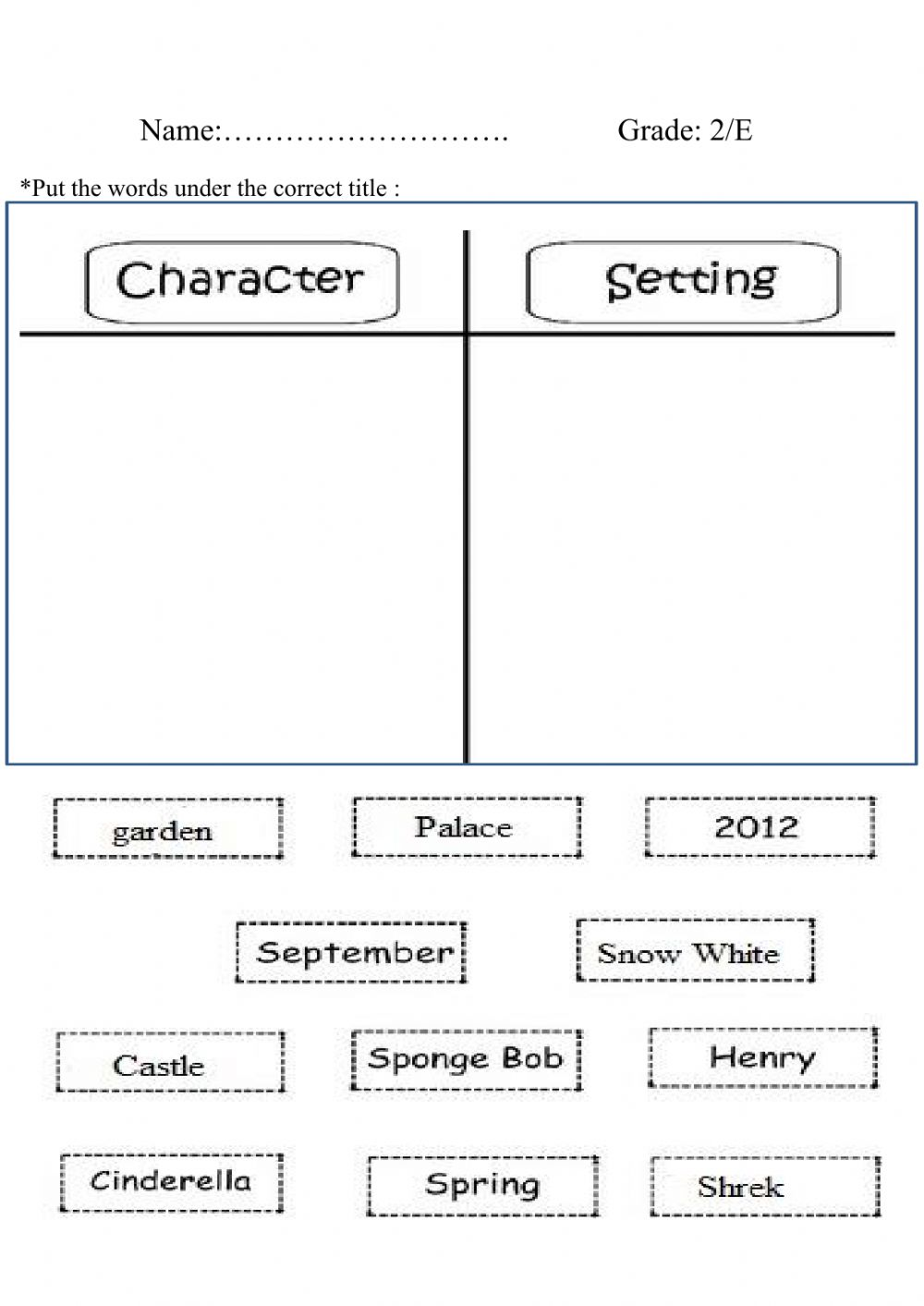 hight resolution of Characters and Setting worksheet