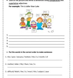 5th Grade Test Unit 6 - Comparative and Superlative Adjectives worksheet [ 1413 x 1000 Pixel ]
