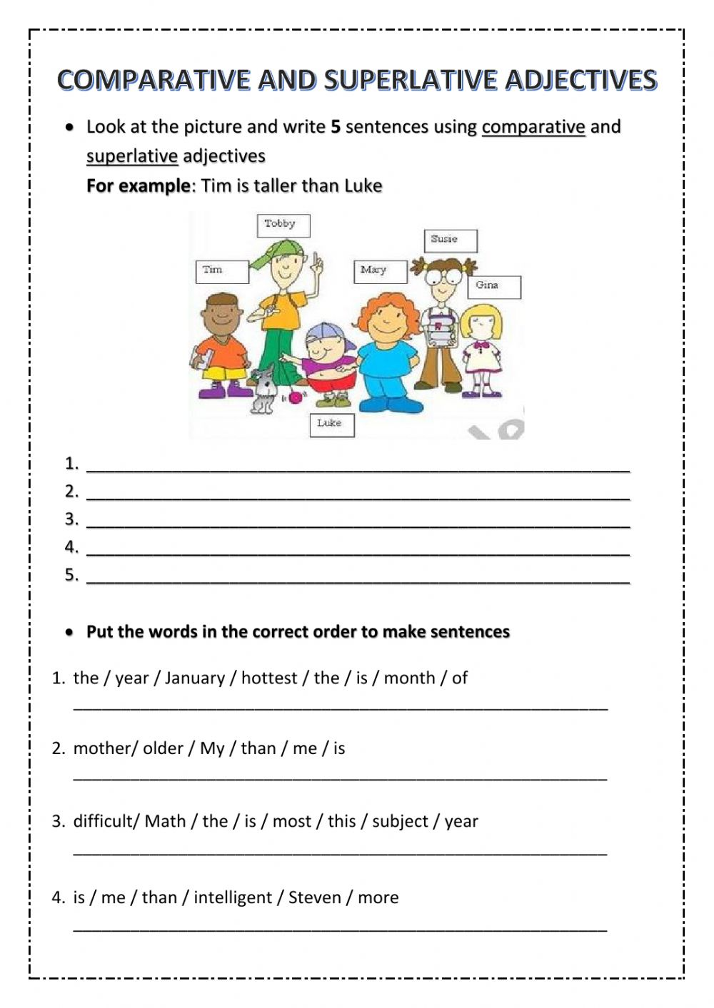 hight resolution of 5th Grade Test Unit 6 - Comparative and Superlative Adjectives worksheet