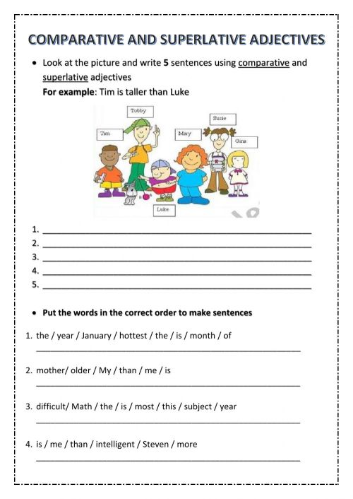 small resolution of 5th Grade Test Unit 6 - Comparative and Superlative Adjectives worksheet