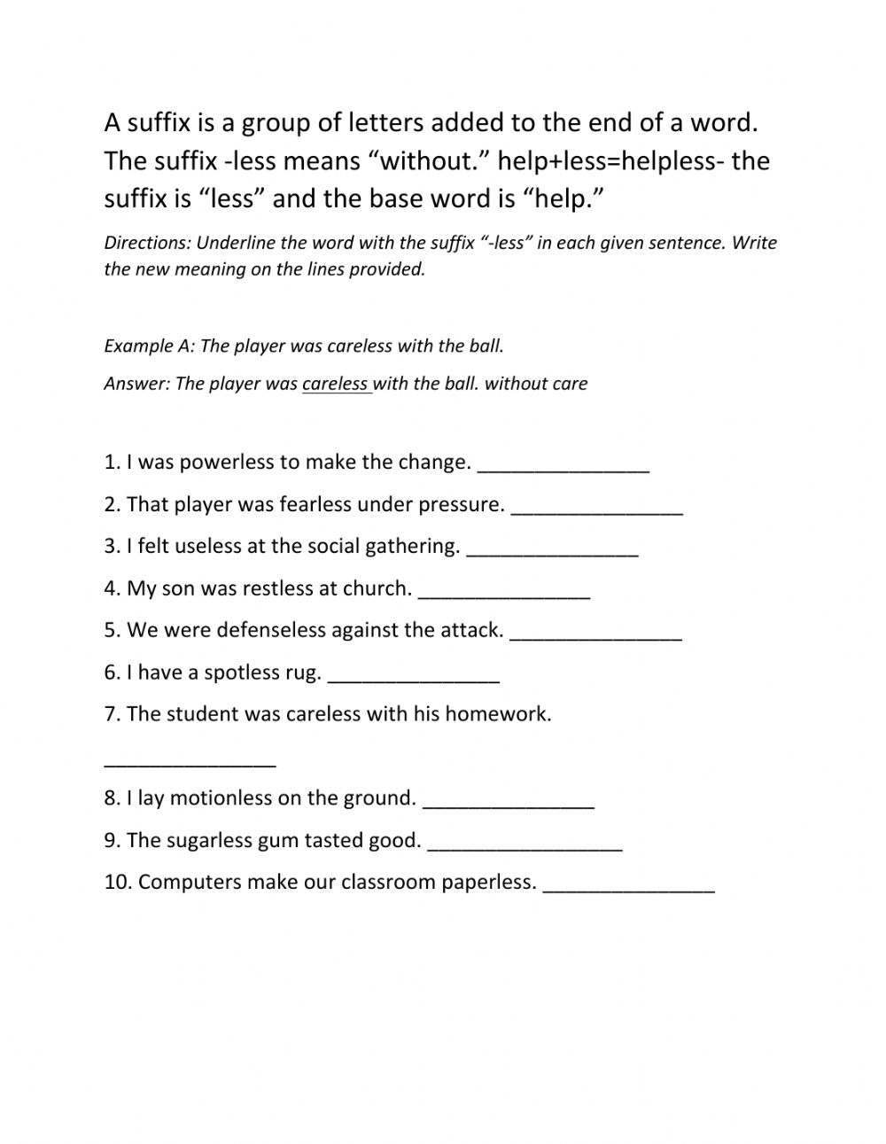 hight resolution of Suffix less worksheet