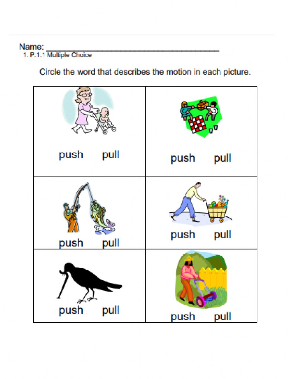 hight resolution of Push and Pull interactive exercise