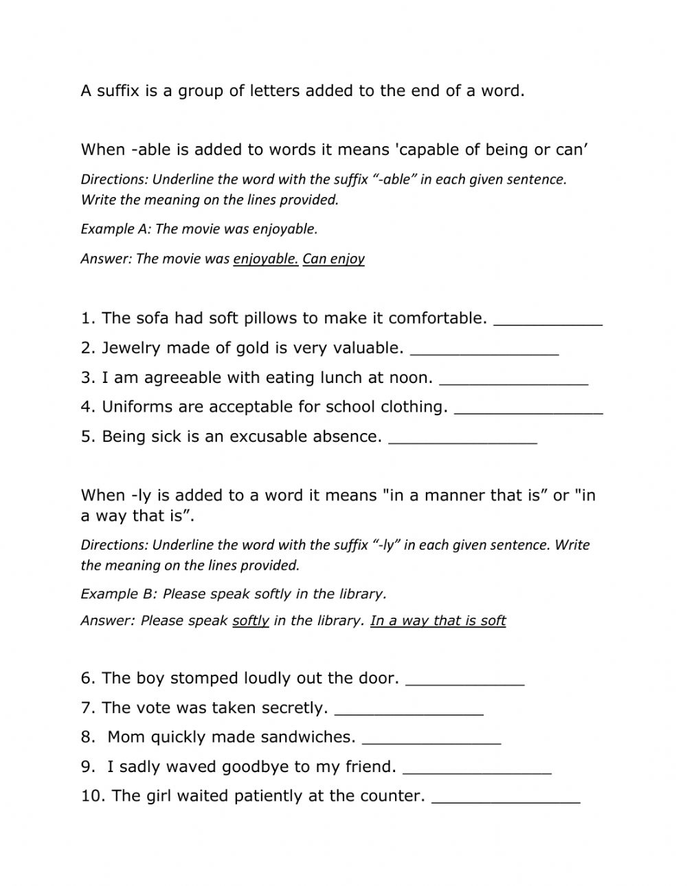 medium resolution of Suffixes able and ly worksheet