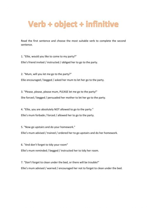 small resolution of Verb + Object + Infinitive worksheet