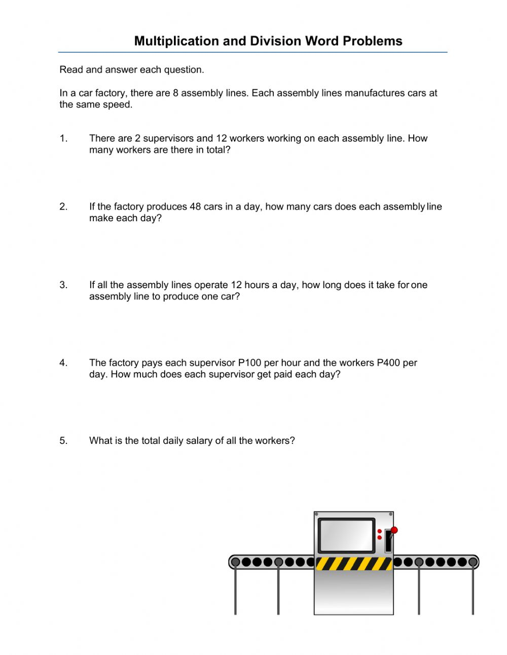 hight resolution of Multiplication and Division Word Problems worksheet