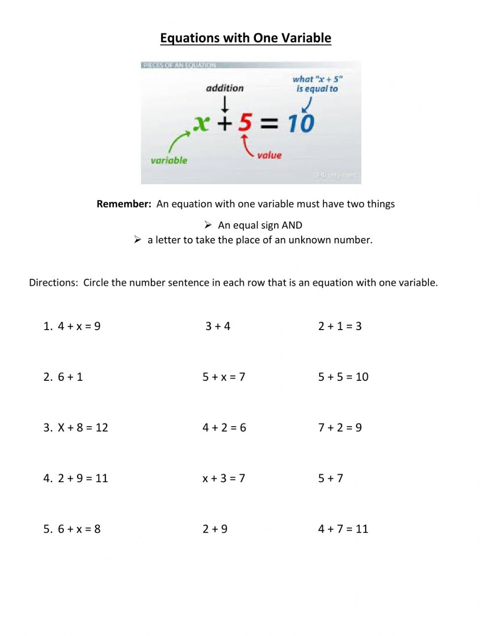 Equations with One Variable worksheet