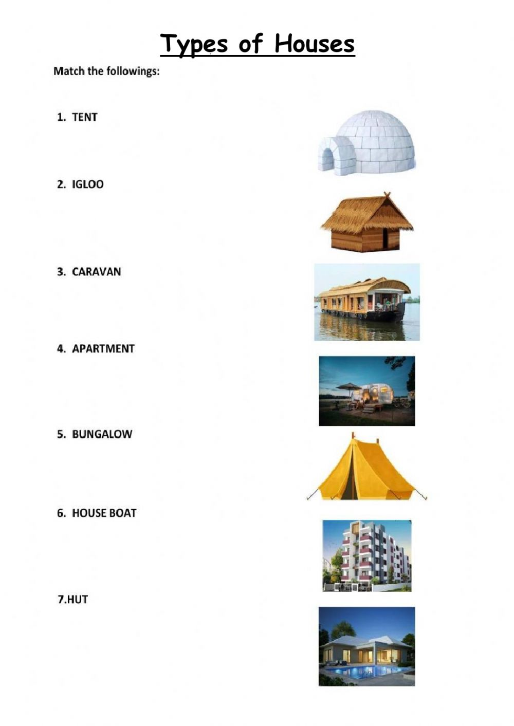 hight resolution of Types of houses interactive activity