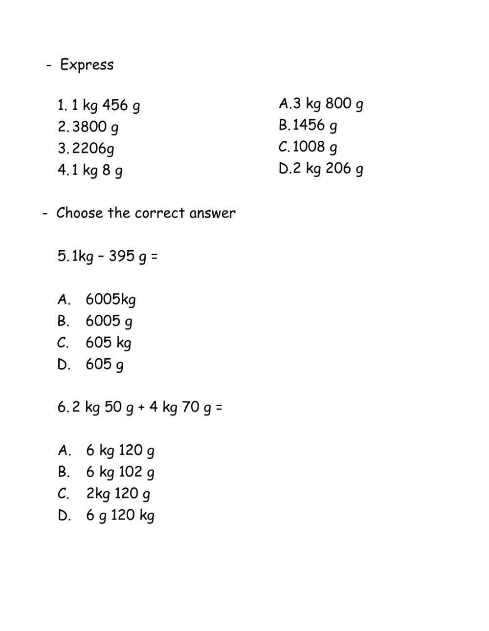 hight resolution of Mass exercise interactive worksheet