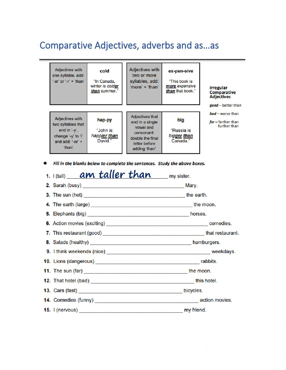 hight resolution of Grammar 1- Comparative Adjectives 1 worksheet