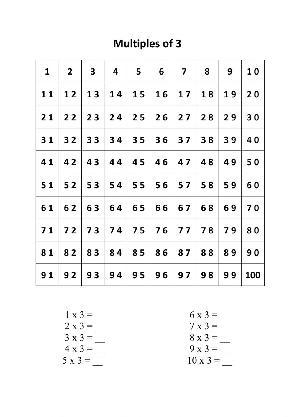 hight resolution of Multiples of 3 worksheet
