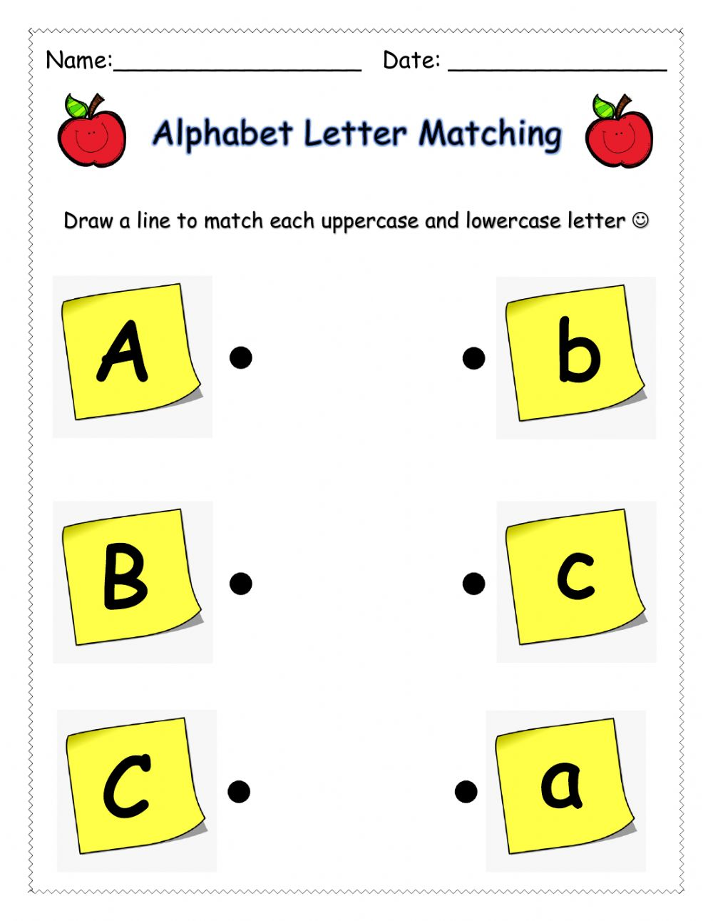 hight resolution of Letter Matching (ABC) worksheet