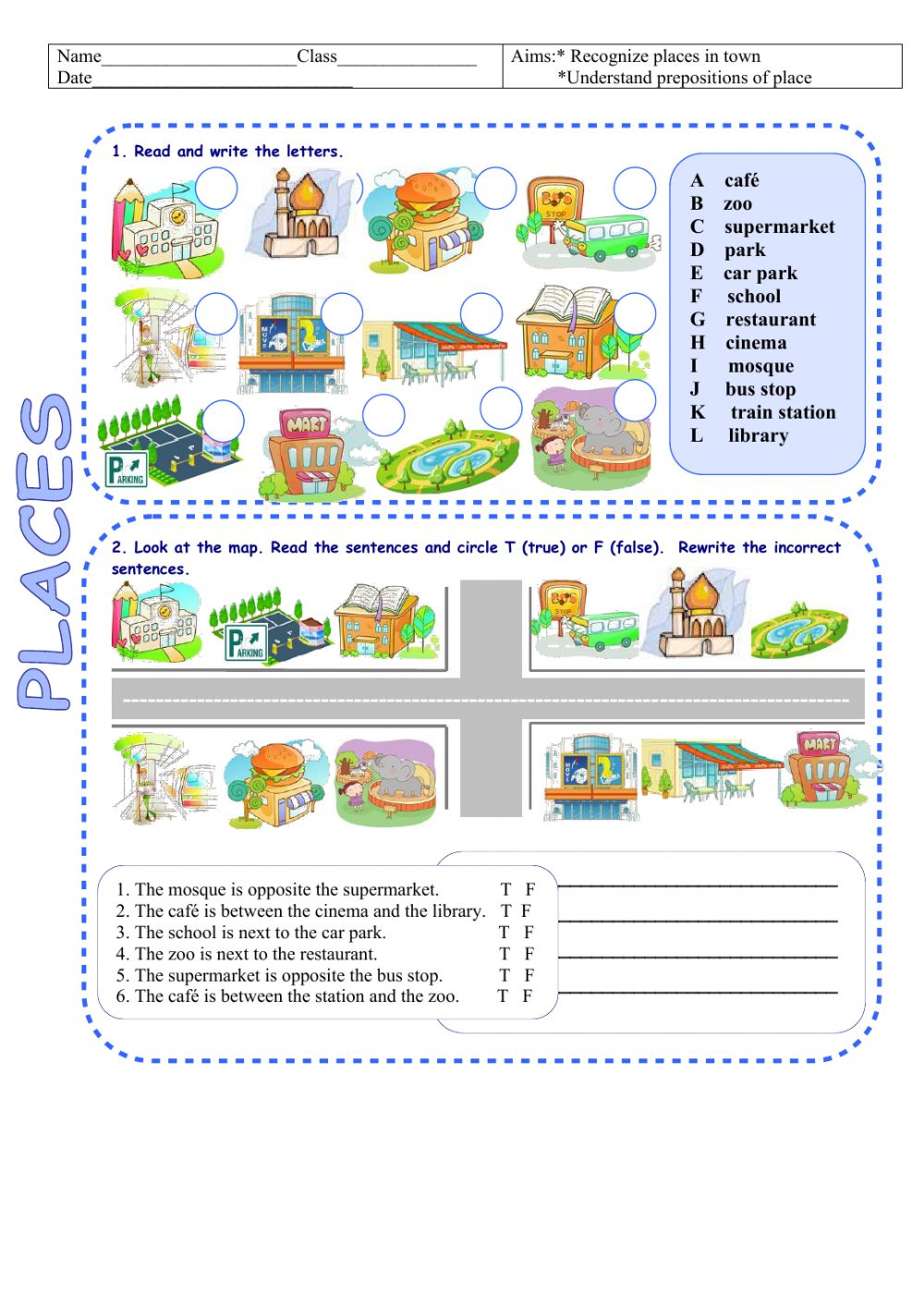hight resolution of Places in town-neighbourhood worksheet