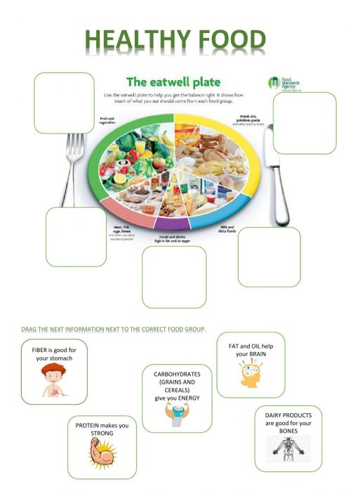small resolution of Healthy food worksheet for grade 3